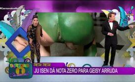 Ju isen nua mostrando seu cu verde na TV